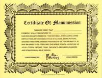 Certificate of Manumission