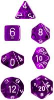 Miniature Poly Set - Translucent Purple w/White (7)
