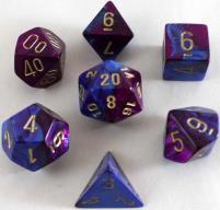 Poly Set Blue & Purple w/Gold (7)