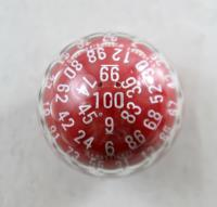 d100 Zocchihedron Red w/White
