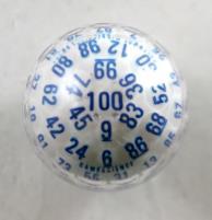 d100 Zocchihedron White w/Blue