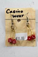 4mm Dice Earrings - Red