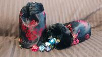 Black and Red Brocade w/Black Fur Dice Bag