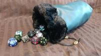 Blue w/Black Fur Dice Bag