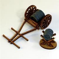 Hand Drawn Water Cart & Jack w/Barrels