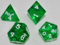"""Jumbo"" Poly Set - Translucent Emerald w/White Ink (4)"
