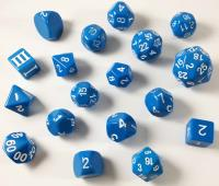 Dice Chain Set - Blue w/White (18)