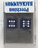 14mm Dark Blue Transparent D6 Precision Dice (2)