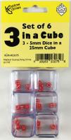 d6 Triple Dice in a Cube w/Red (6)