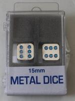 15mm d6 Metal Dice w/Blue Pips (2)