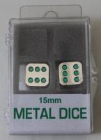 15mm d6 Metal Dice w/Green Pips (2)