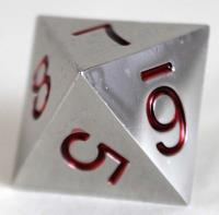 20mm d8 Metal Dice w/Red