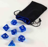 Blue Polyhedral Dice Set w/Bag (7)