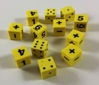 Math Dice w/Pips, Numbers, and Operators (12)