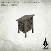 Wooden Shed w/Rabbit Cage and Pigeon House