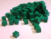 10mm Wooden Cube Tokens - Green