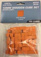 10mm Wooden Cube Tokens - Orange
