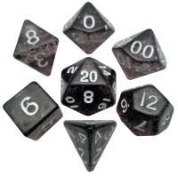 Mini Polyhedral Dice Set - Ethereal Black w/White (7)