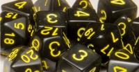 Polyhedral Dice - Translucent Black w/Gold (15)