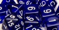 Polyhedral Dice - Translucent Dark Blue w/White (15)