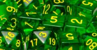 Polyhedral Dice - Translucent Dark Green w/Gold (15)