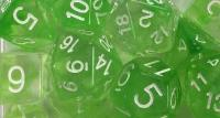 Polyhedral Dice - Slime Green w/White Numbers (15)