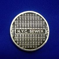 "1"" Round Base - N.Y.C. Sewer Lid"