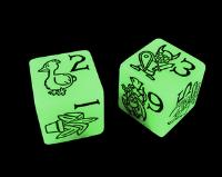 D6 Jumbo Munchkin Dice - Glow-In-The-Dark (2)