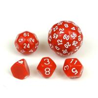 Unique Dice Set - Red w/White (5)
