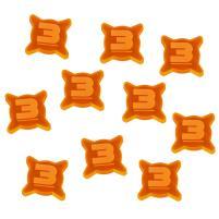 3 Damage Tokens - Fluorescent Orange