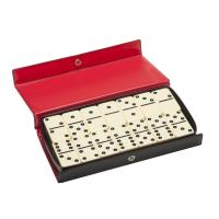 Club Size Double Six Ivory Dominoes in Vinyl Case