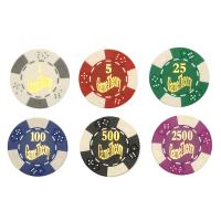 Classic Poker Chip Set w/Black Leatherette Case