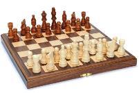 Wood Folding Chess Set w/Beveled Edges