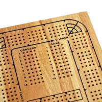 Classic Cribbage Set - Continuous 4 Track Board w/Pegs, Solid Wood