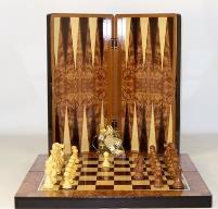 """19"""" Burl Wood Backgammon Board w/Chessboard"""