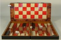 "19"" Red Burl Decoupage Backgammon Board w/Checkers"