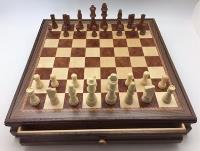 "17.5"" Wood Inlaid Chest & Chessmen"