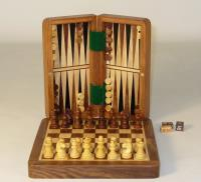 "7"" Folding Wood Magnetic Chess & Backgammon"