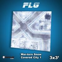 3' x 3' - War-Torn Snow Covered City #1