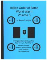 Italian Order of Battle, World War II - Volume 3