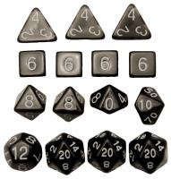 Polyhedral Dice - Translucent Black w/White (15)