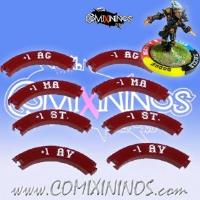 2 Sets of 8 Characteristic Modification Puzzle Skill Rings for 32mm Bases - Dark Red