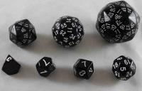 Unique Polyhedral Dice Set - Black w/White (7)