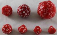 Unique Polyhedral Dice Set - Red w/White (7)
