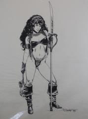 "Girl with Glaive - 15"" x 20"" Original Pen and Ink"