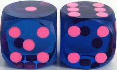 12.5mm Precision Backgammon - Blue w/Pink (2)