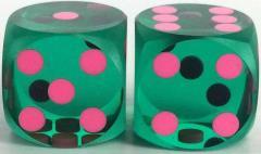12.5mm Precision Backgammon - Green w/Pink (2)