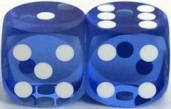 14mm Precision Backgammon - Light-Blue w/White (2)
