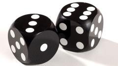 16mm Precision Backgammon Dice - Black w/White (2)
