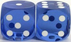 16mm Precision Backgammon - Light Blue w/White (2)